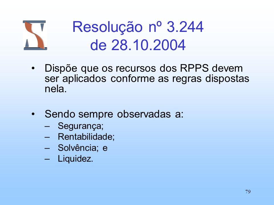 Resolução nº 3.244 de 28.10.2004 Dispõe que os recursos dos RPPS devem ser aplicados conforme as regras dispostas nela.