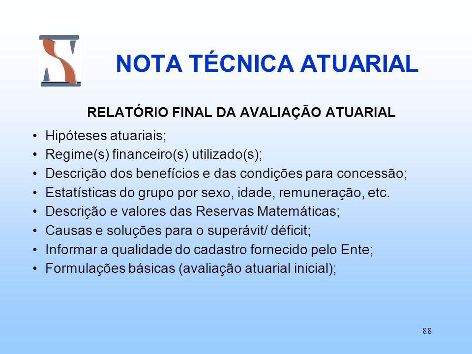 RELATÓRIO FINAL DA AVALIAÇÃO ATUARIAL