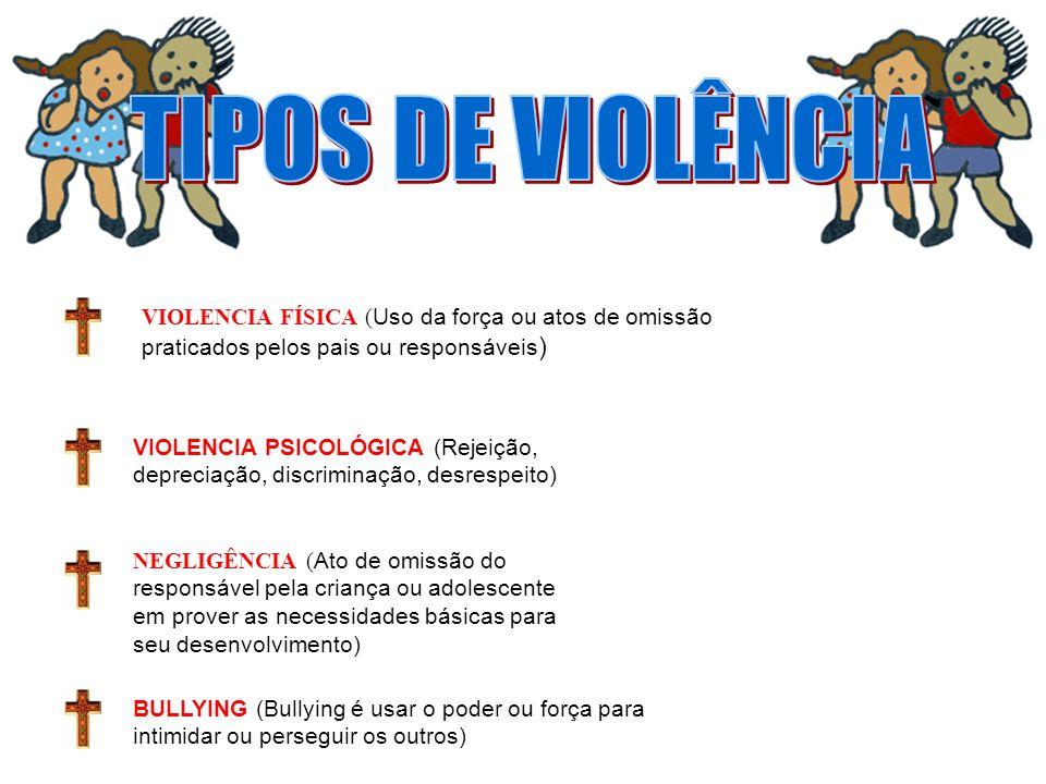 TIPOS DE VIOLÊNCIA VIOLENCIA FÍSICA (Uso da força ou atos de omissão praticados pelos pais ou responsáveis)