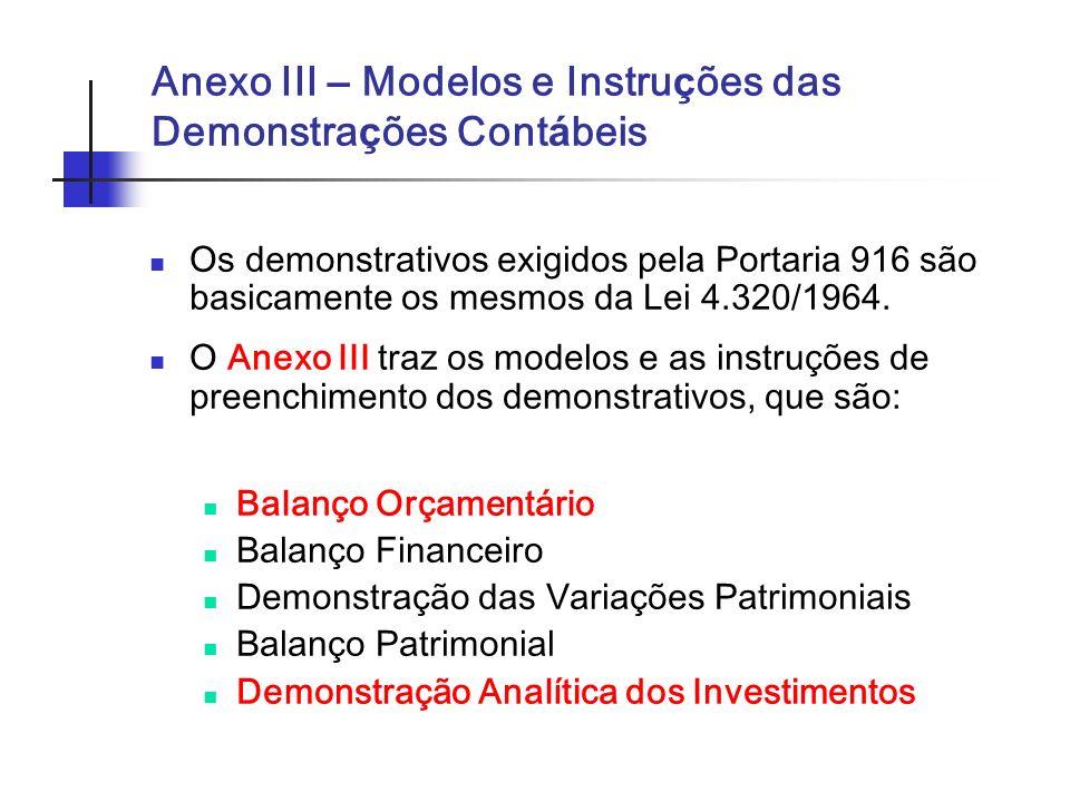 Anexo III – Modelos e Instruções das Demonstrações Contábeis