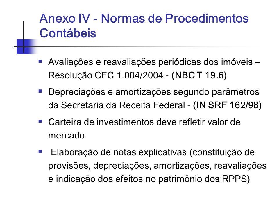 Anexo IV - Normas de Procedimentos Contábeis