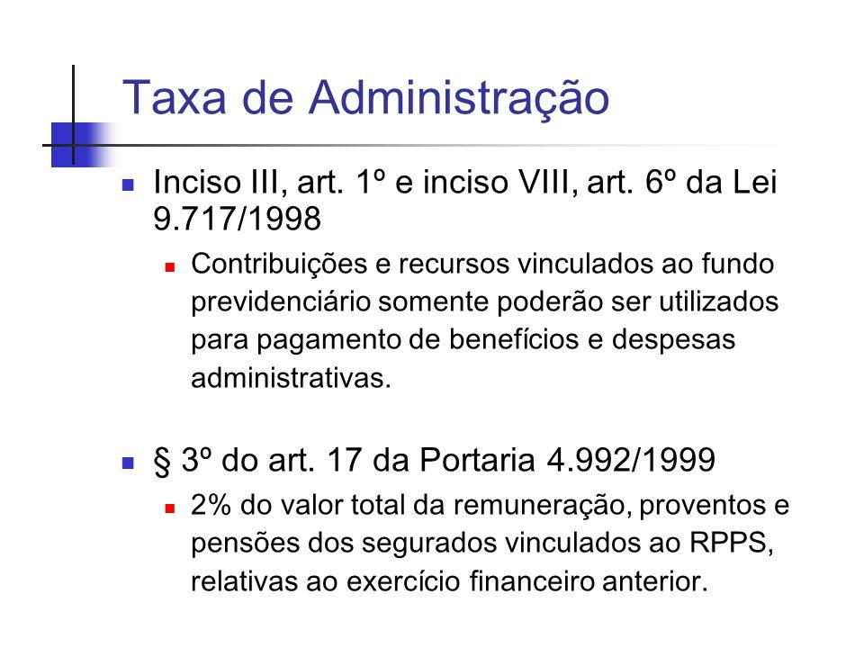 Taxa de Administração Inciso III, art. 1º e inciso VIII, art. 6º da Lei 9.717/1998.