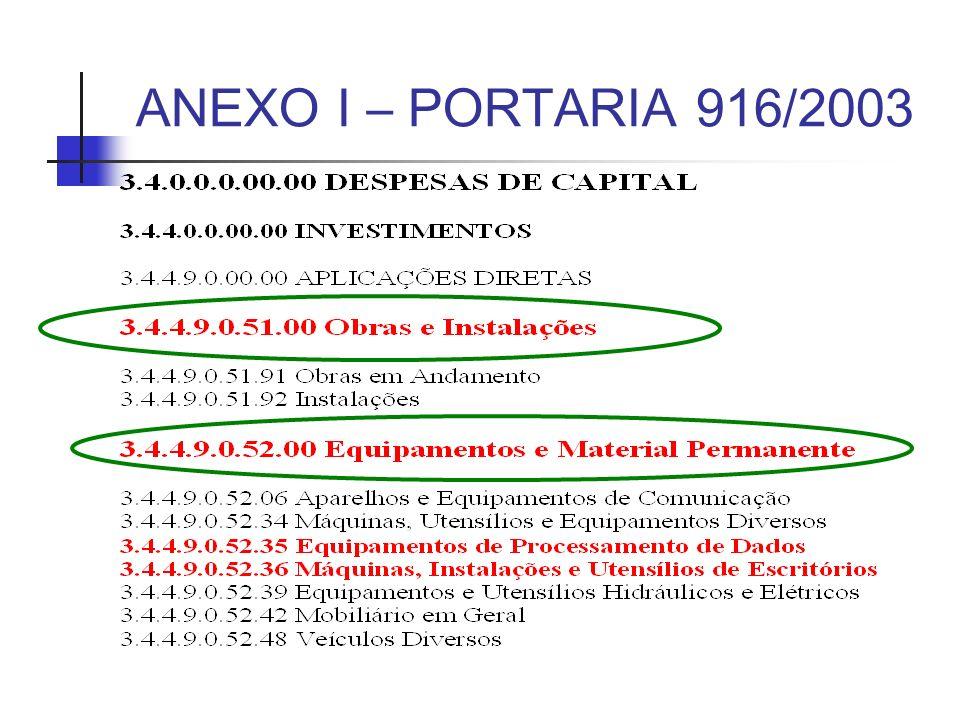ANEXO I – PORTARIA 916/2003