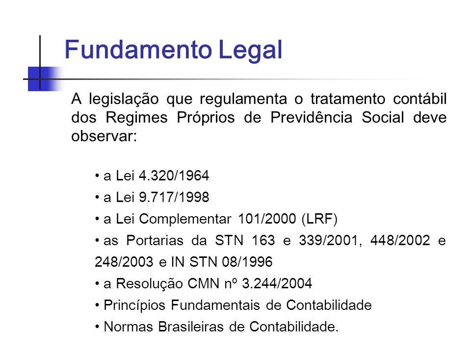 Fundamento Legal A legislação que regulamenta o tratamento contábil dos Regimes Próprios de Previdência Social deve observar:
