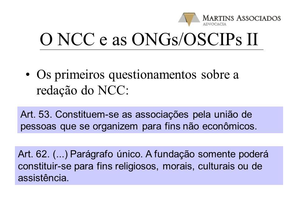 O NCC e as ONGs/OSCIPs II