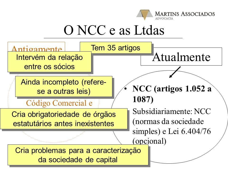 O NCC e as Ltdas Atualmente Antigamente Dec. 3.708/19