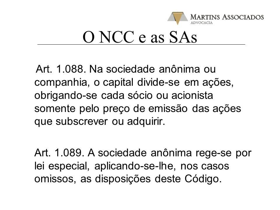 O NCC e as SAs