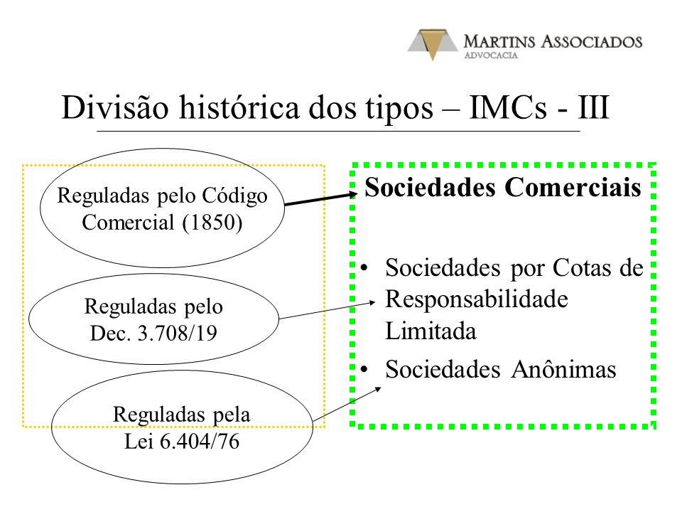 Divisão histórica dos tipos – IMCs - III