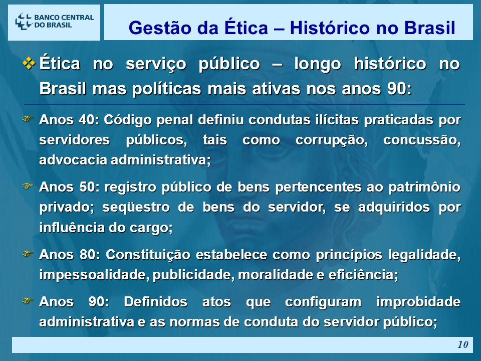 Gestão da Ética – Histórico no Brasil