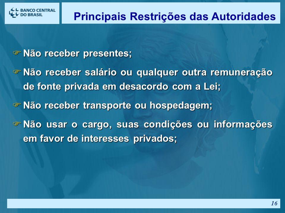Principais Restrições das Autoridades