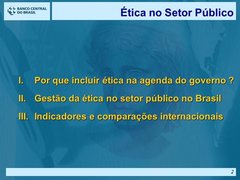 Ética no Setor Público Por que incluir ética na agenda do governo