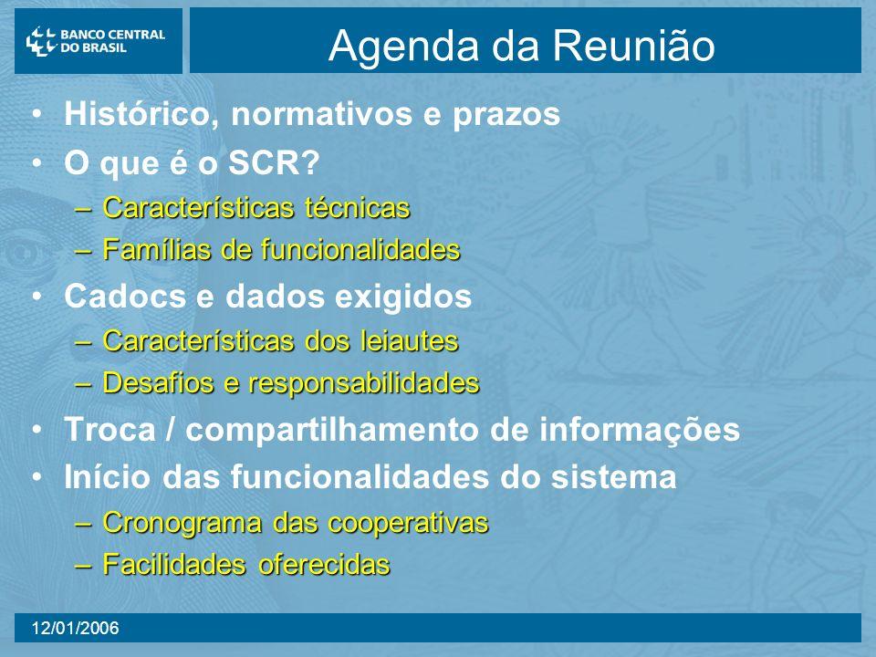 Agenda da Reunião Histórico, normativos e prazos O que é o SCR