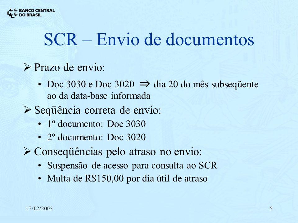 SCR – Envio de documentos