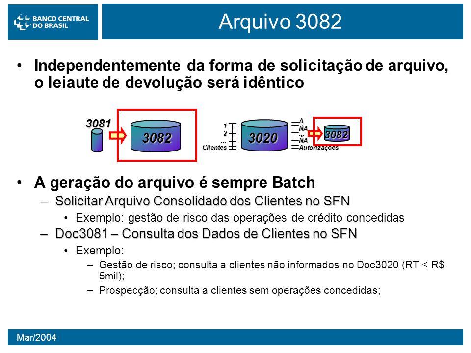 Arquivo 3082Independentemente da forma de solicitação de arquivo, o leiaute de devolução será idêntico.