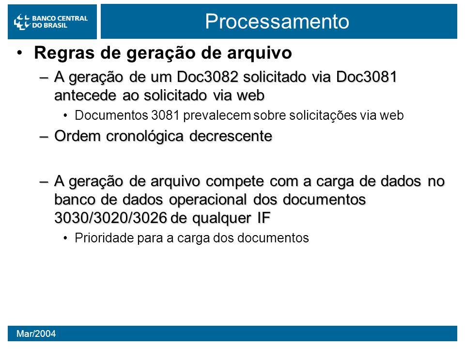 Processamento Regras de geração de arquivo