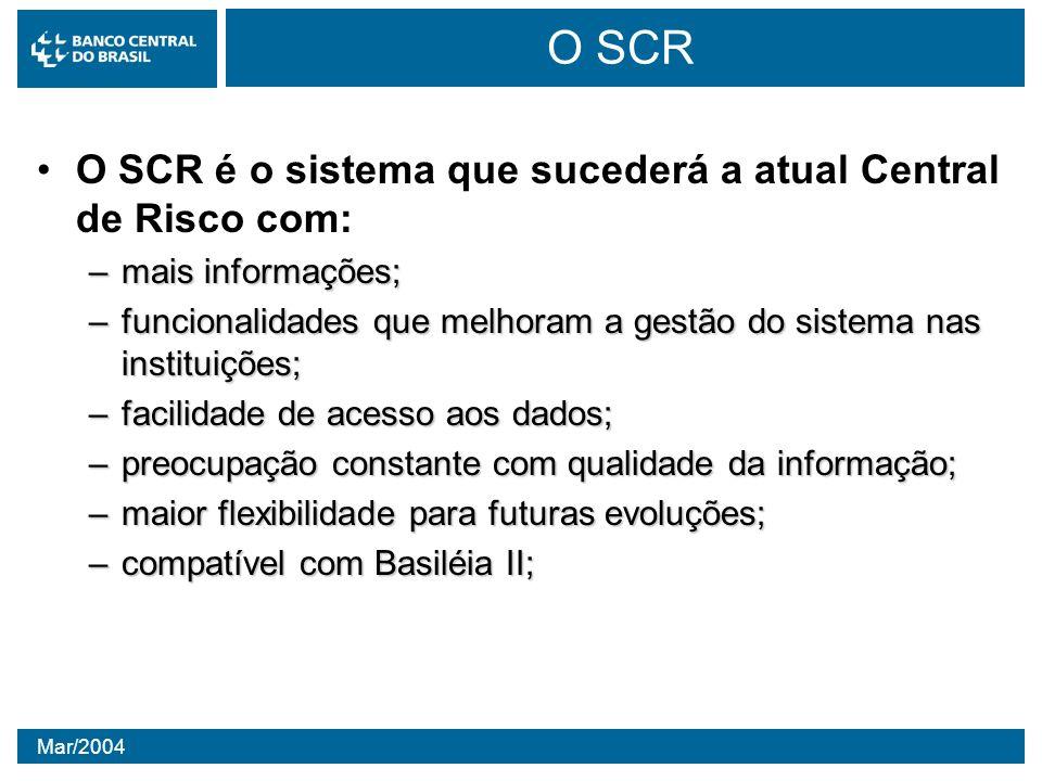 O SCR O SCR é o sistema que sucederá a atual Central de Risco com: