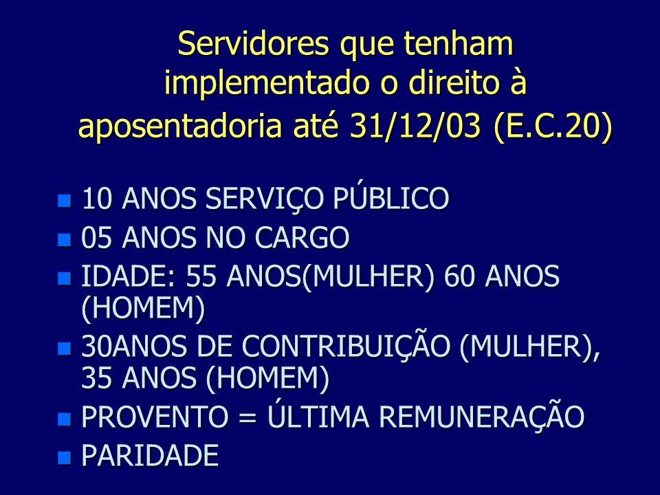 Servidores que tenham implementado o direito à aposentadoria até 31/12/03 (E.C.20)