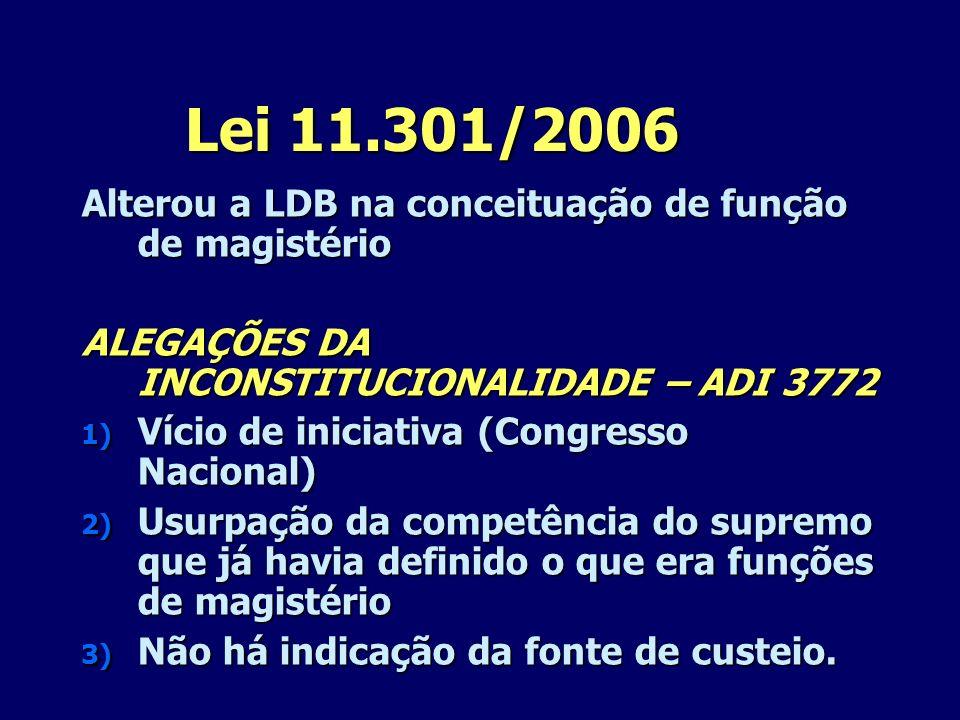 Lei 11.301/2006 Alterou a LDB na conceituação de função de magistério