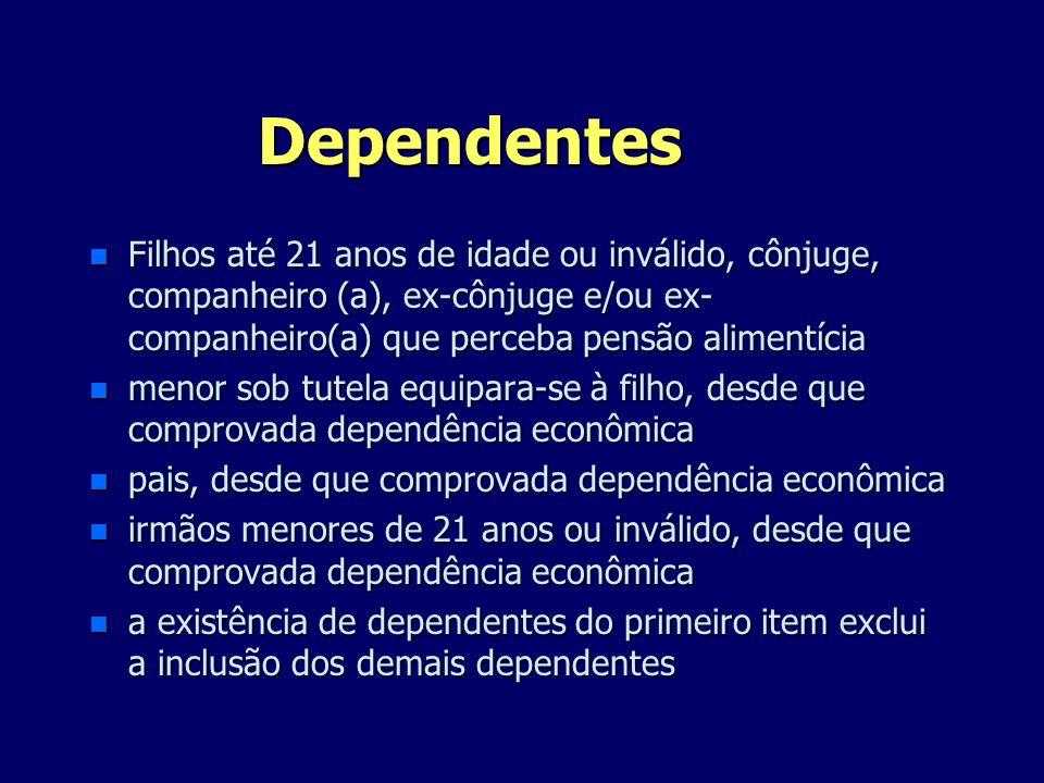 Dependentes Filhos até 21 anos de idade ou inválido, cônjuge, companheiro (a), ex-cônjuge e/ou ex-companheiro(a) que perceba pensão alimentícia.