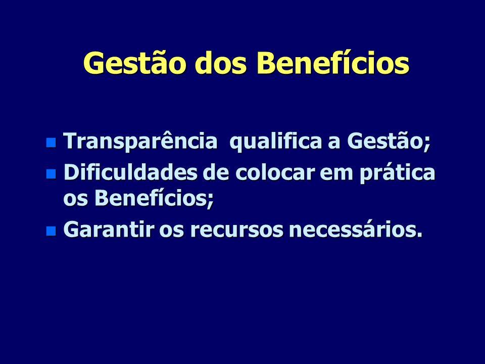 Gestão dos Benefícios Transparência qualifica a Gestão;