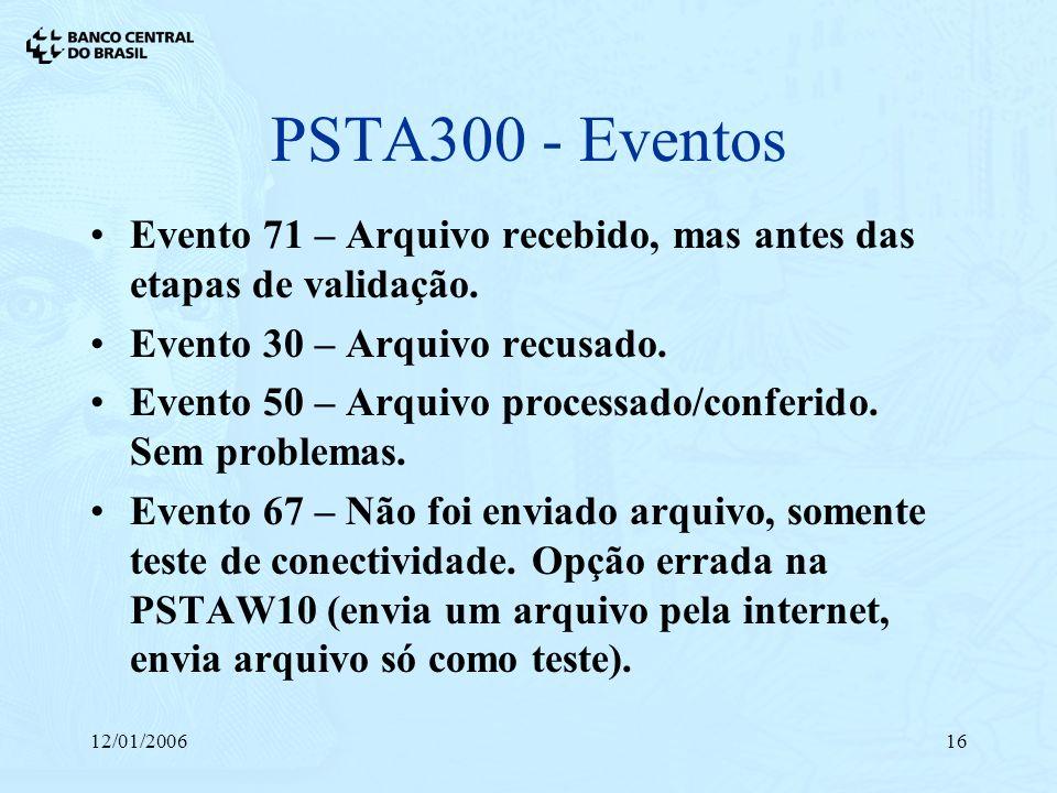 PSTA300 - EventosEvento 71 – Arquivo recebido, mas antes das etapas de validação. Evento 30 – Arquivo recusado.