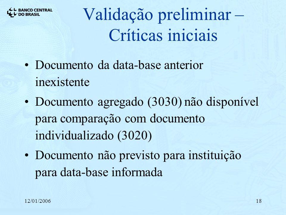 Validação preliminar – Críticas iniciais