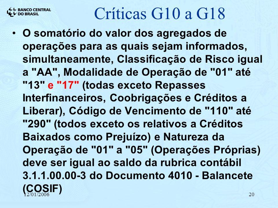Críticas G10 a G18