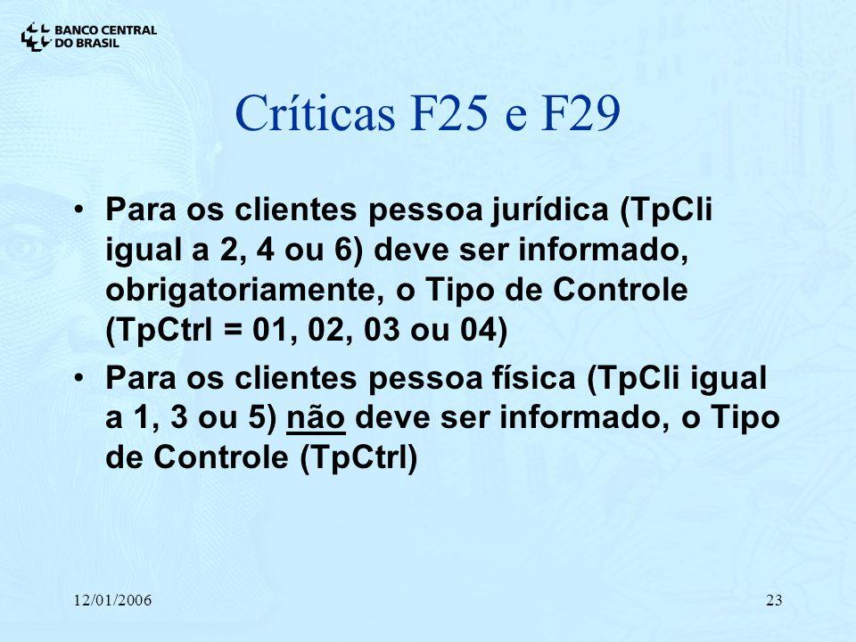 Críticas F25 e F29