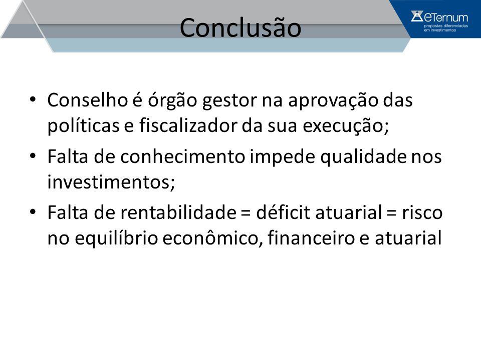 Conclusão Conselho é órgão gestor na aprovação das políticas e fiscalizador da sua execução;