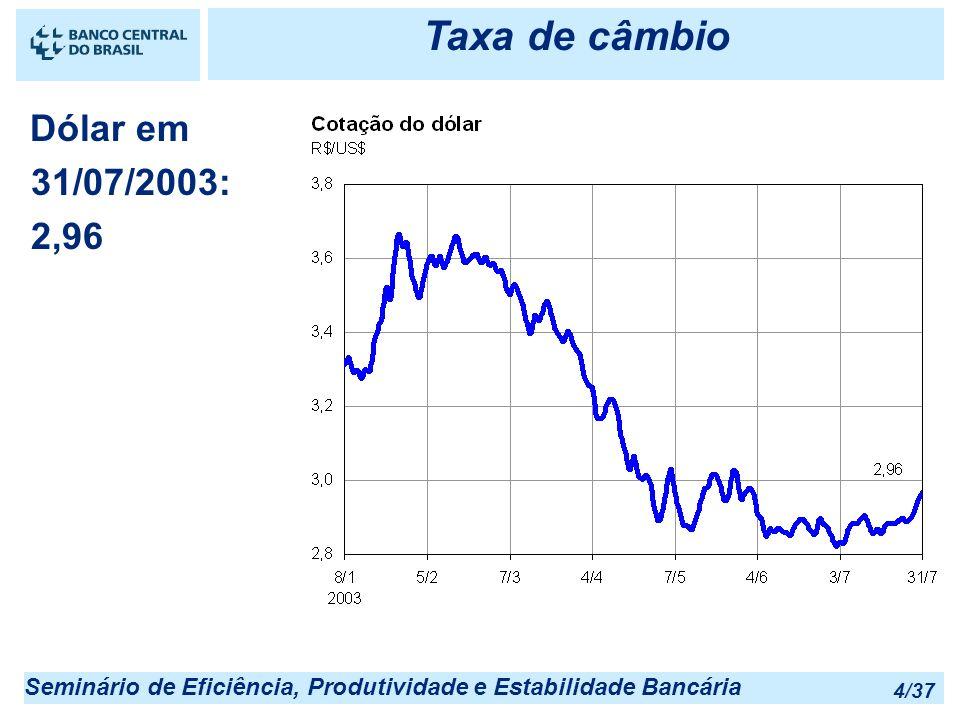 Taxa de câmbio Dólar em 31/07/2003: 2,96