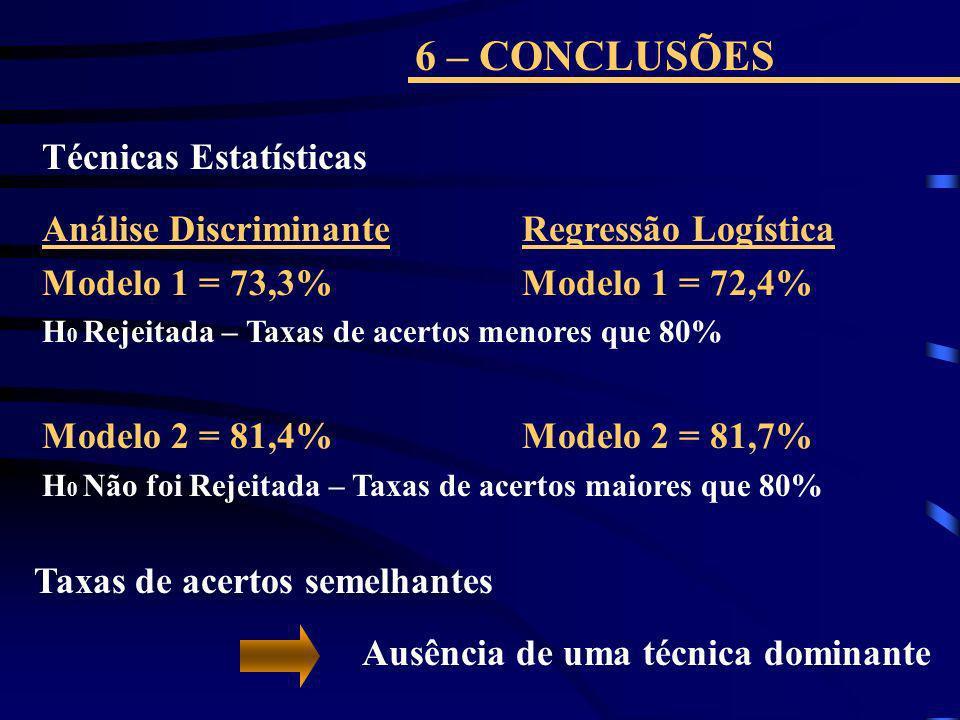 6 – CONCLUSÕES Técnicas Estatísticas