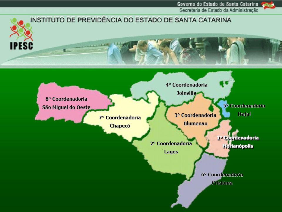 8° Coordenadoria São Miguel do Oeste. 7° Coordenadoria. Chapecó. 2° Coordenadoria. Lages. 4° Coordenadoria.