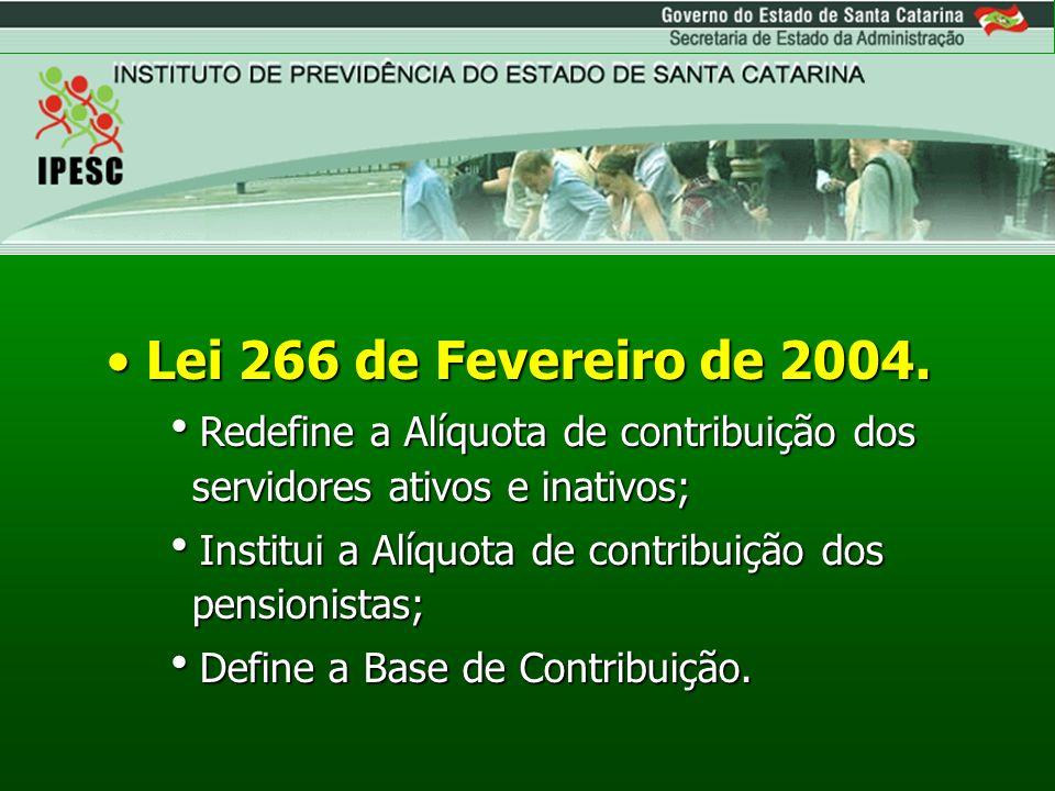 Lei 266 de Fevereiro de 2004. Redefine a Alíquota de contribuição dos servidores ativos e inativos;