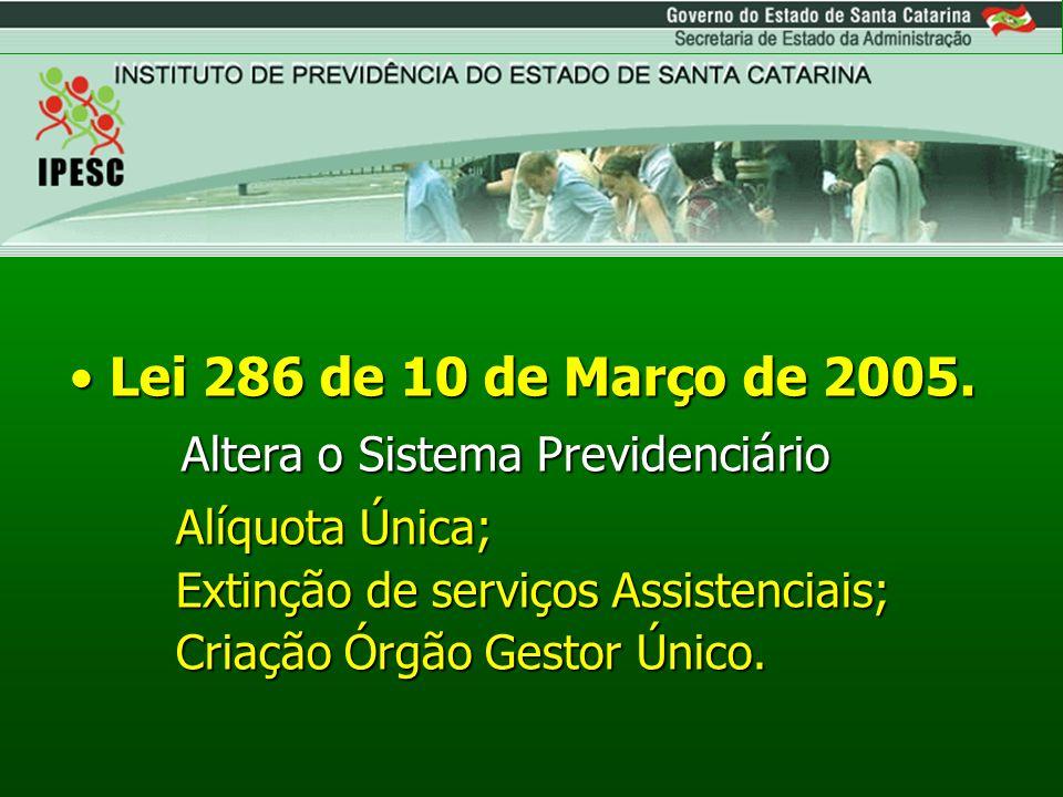 Lei 286 de 10 de Março de 2005. Altera o Sistema Previdenciário