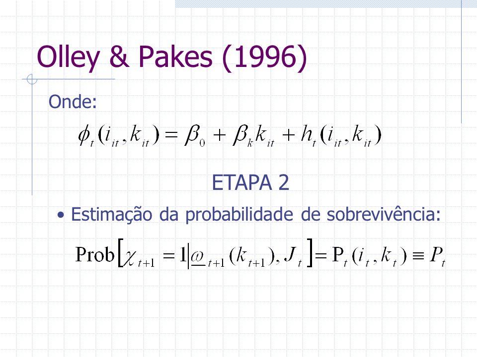 Olley & Pakes (1996) ETAPA 2 Onde: