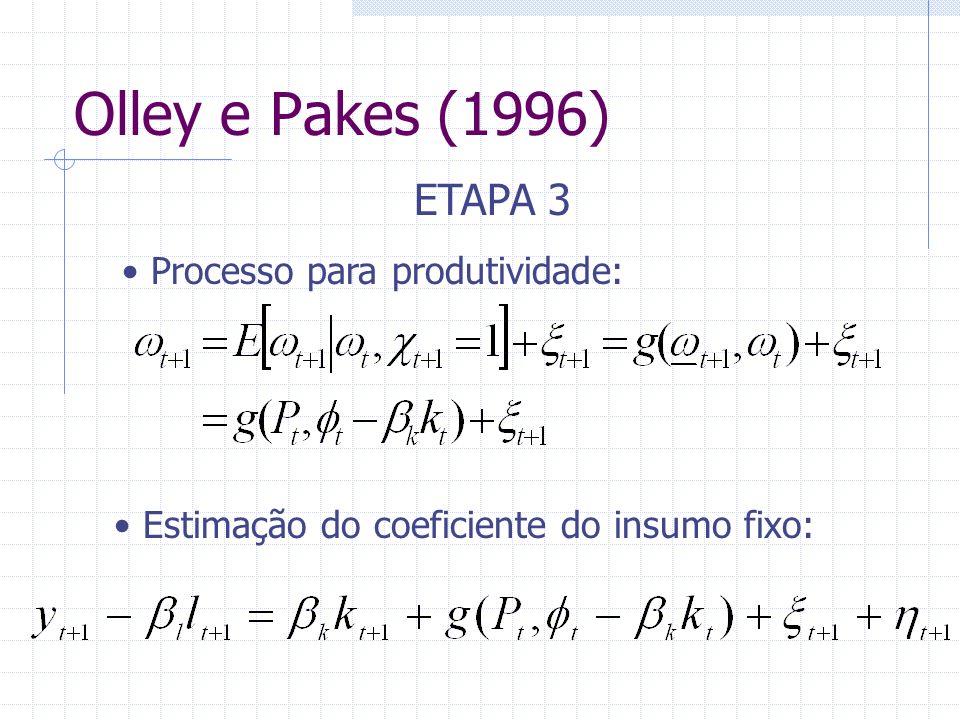 Olley e Pakes (1996) ETAPA 3 Processo para produtividade: