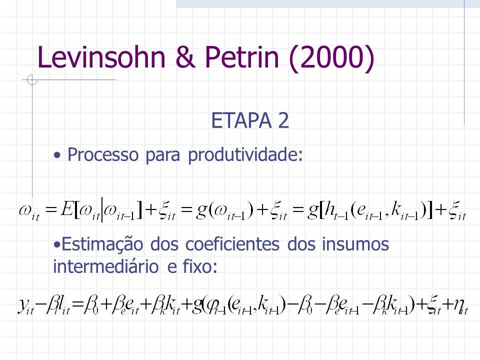 Levinsohn & Petrin (2000) ETAPA 2 Processo para produtividade: