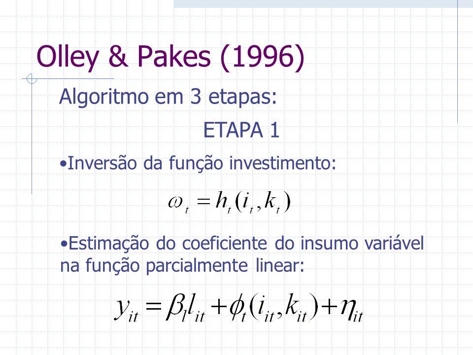 Olley & Pakes (1996) Algoritmo em 3 etapas: ETAPA 1