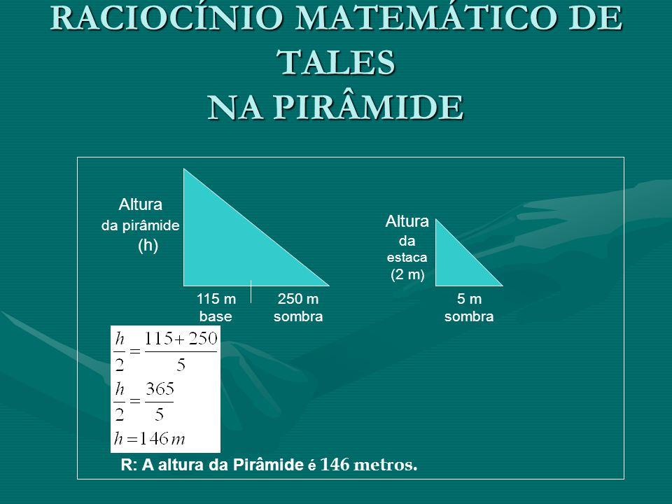 RACIOCÍNIO MATEMÁTICO DE TALES NA PIRÂMIDE
