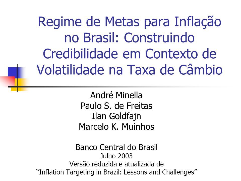 Regime de Metas para Inflação no Brasil: Construindo Credibilidade em Contexto de Volatilidade na Taxa de Câmbio