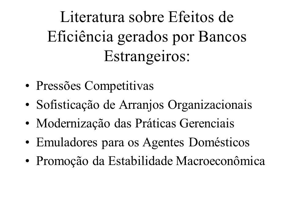 Literatura sobre Efeitos de Eficiência gerados por Bancos Estrangeiros: