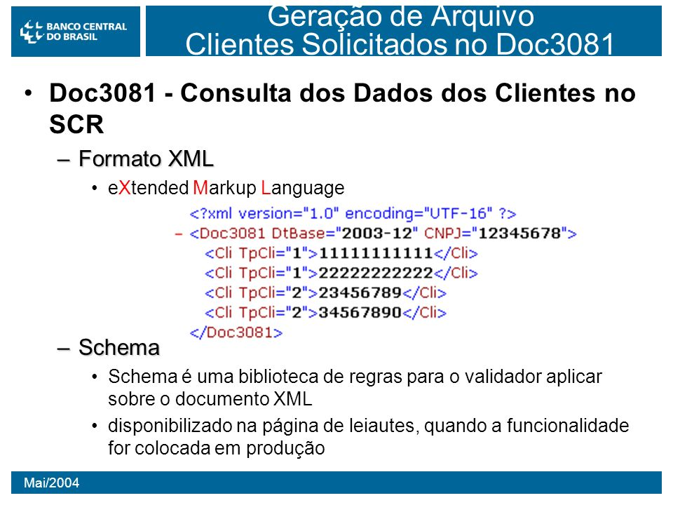 Geração de Arquivo Clientes Solicitados no Doc3081