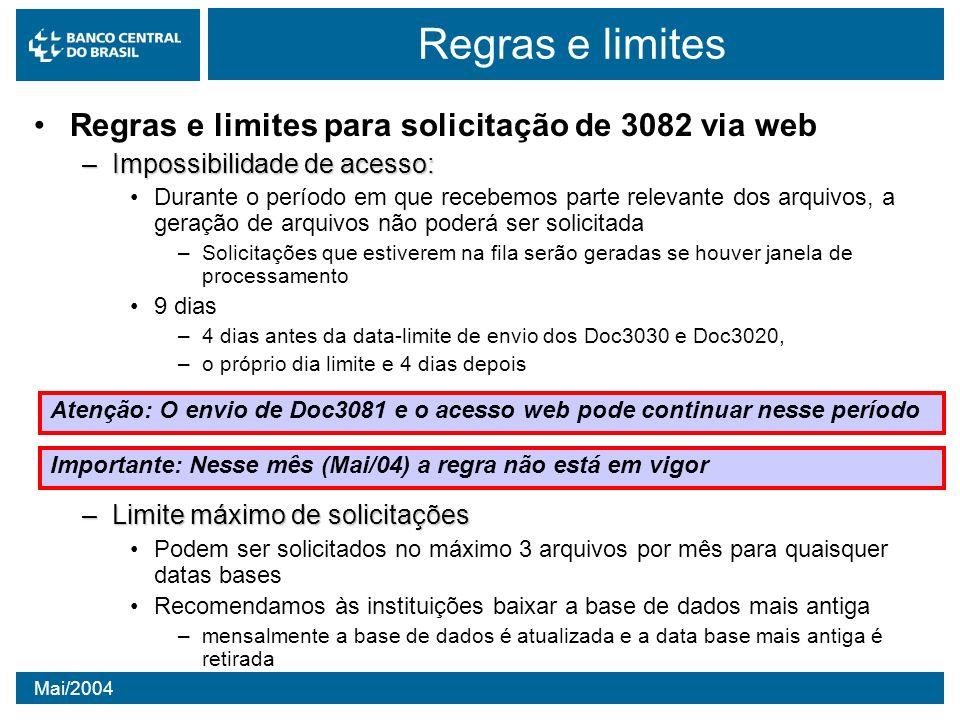 Regras e limites Regras e limites para solicitação de 3082 via web