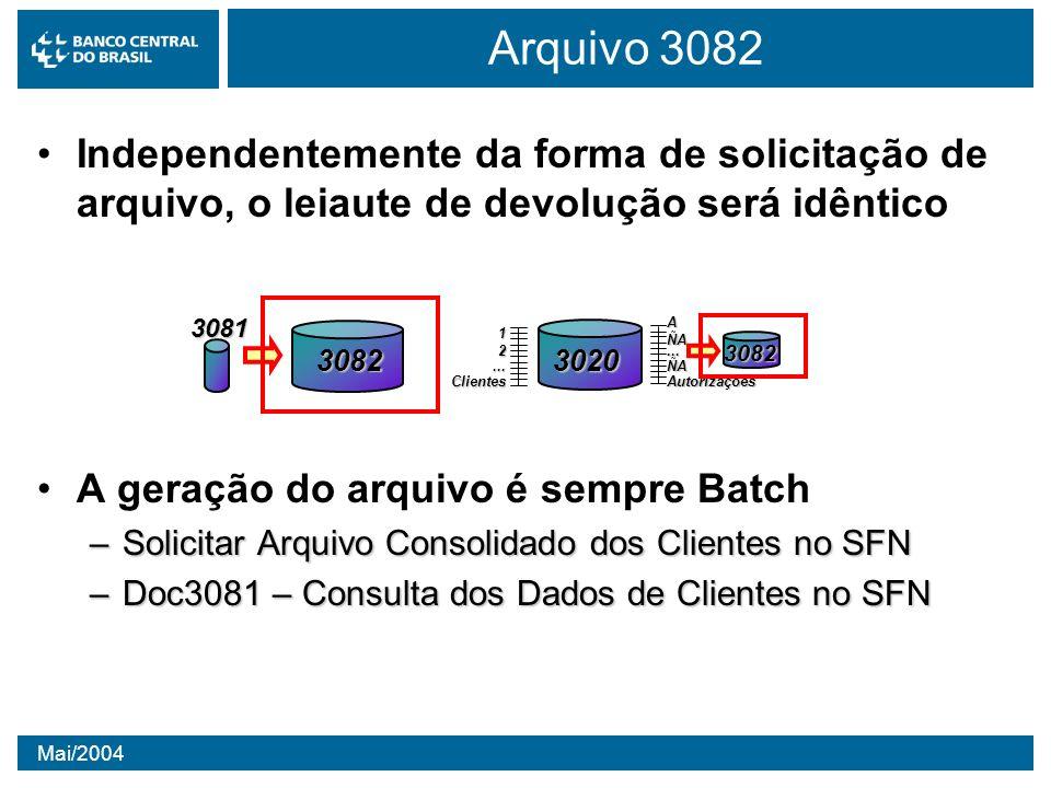 Arquivo 3082 Independentemente da forma de solicitação de arquivo, o leiaute de devolução será idêntico.