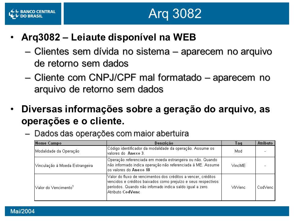 Arq 3082 Arq3082 – Leiaute disponível na WEB