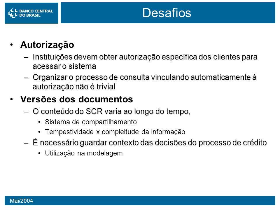 Desafios Autorização Versões dos documentos