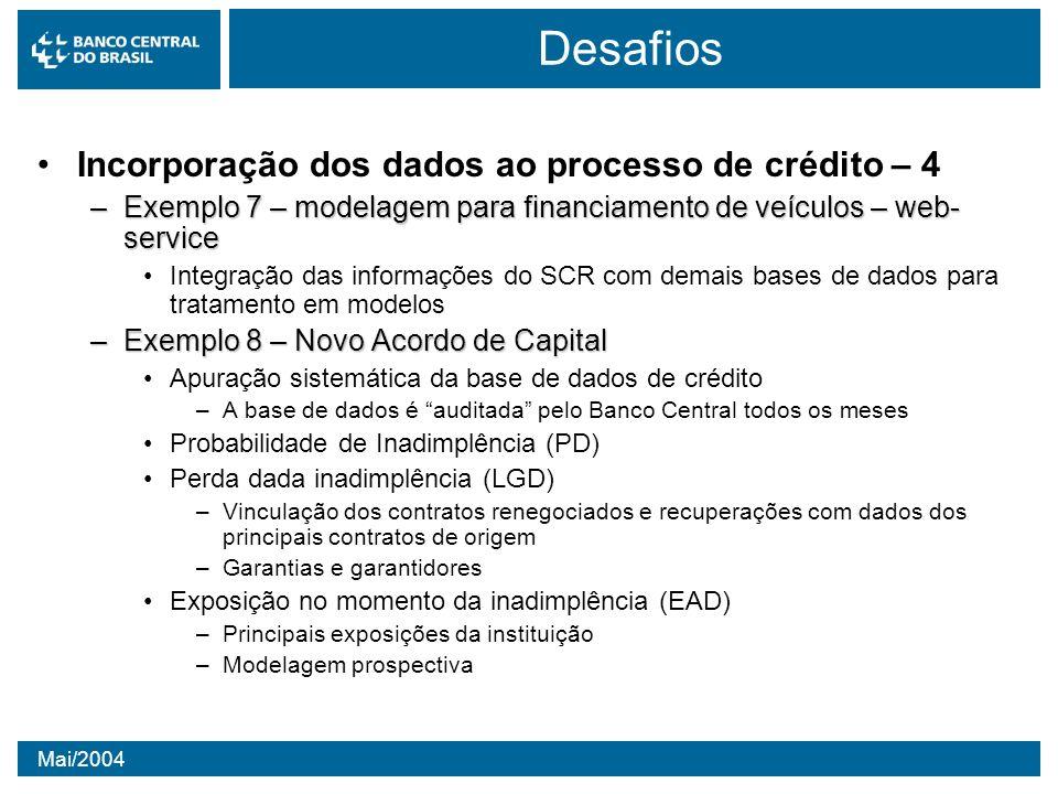 Desafios Incorporação dos dados ao processo de crédito – 4