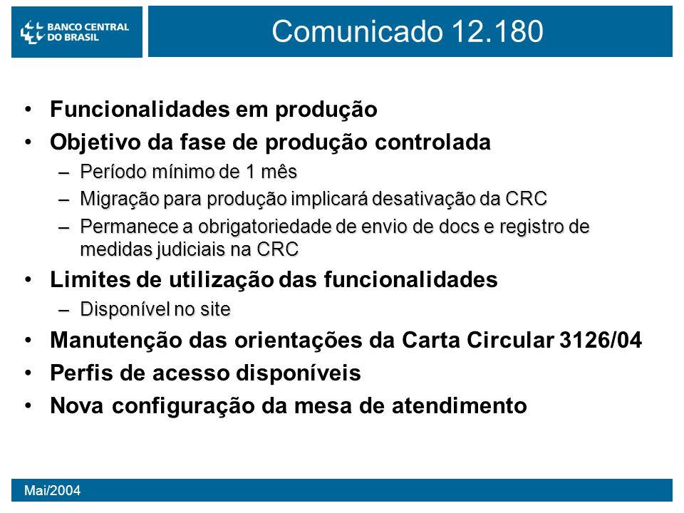 Comunicado 12.180 Funcionalidades em produção