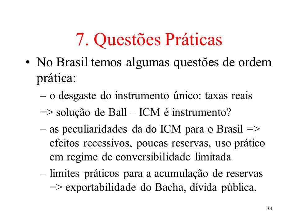 7. Questões Práticas No Brasil temos algumas questões de ordem prática: o desgaste do instrumento único: taxas reais.