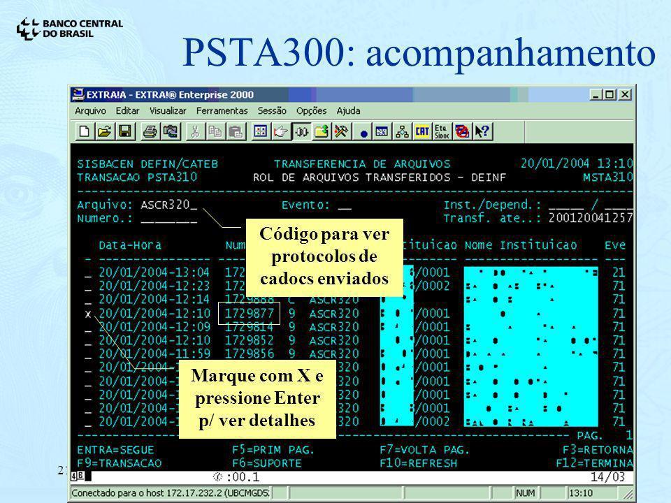 Código para ver protocolos de cadocs enviados